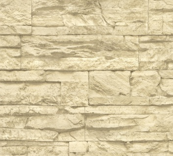 Stein Kacheln Tapete Profhome 707130-GU Vliestapete leicht strukturiert in Steinoptik matt beige creme 5, 33 m2