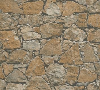 Stein Kacheln Tapete Profhome 958631-GU Vliestapete glatt in Steinoptik matt braun beige schwarz 5, 33 m2
