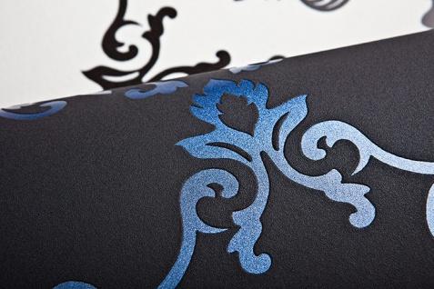 Barock Tapete EDEM 85026BR22 Vinyltapete glatt mit Ornamenten und metallischen Akzenten anthrazit dunkel-grau violett-blau silber 5, 33 m2 - Vorschau 4
