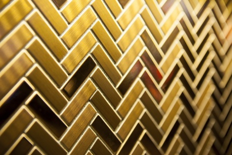 Mosaik Fliese massiv Metall Titan gebürstet in gold 1, 6mm stark ALLOY Herringbone-Ti-GB 0, 85 m2 - Vorschau 4