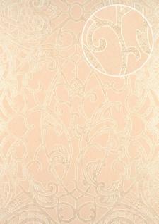 Barock Tapete ATLAS CLA-597-4 Vliestapete geprägt mit grafischem Muster glänzend creme beige gold weiß 5, 33 m2