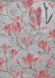 Blumen Tapete Atlas TEM-0115-5 HochwertigeVliestapete strukturiert mit grafischem Muster und Metallic Effekt silber licht-grau alt-rosa platin-grau 7, 035 m2