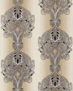 3D Barock Tapete EDEM 096-23 Tapete Damask prunkvolle Ornament-Designs braun hellbraun beige silber schwarz | 5, 33 qm