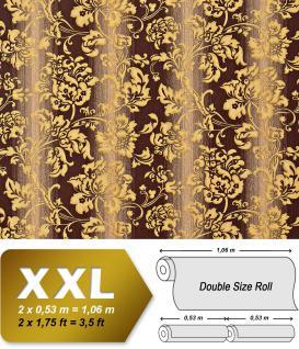 Blumen Tapete XXL Luxus Vliestapete EDEM 921-36 Hochwertiges florales Barockmuster braun gold beige dezente glitzer 10, 65 m2