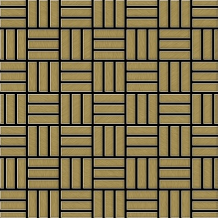Mosaik Fliese massiv Metall Titan gebürstet in gold 1, 6mm stark ALLOY Basketweave-Ti-GB 0, 82 m2