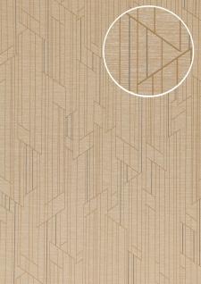 Grafik Tapete ATLAS XPL-565-7 Vliestapete strukturiert mit geometrischen Formen schimmernd creme beige hell-elfenbein perl-weiß 5, 33 m2