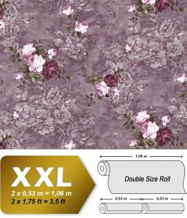 Blumen Tapete EDEM 9045-25 Vliestapete geprägt im romantischen Design matt violett aubergine wein-rot weiß 10, 65 m2