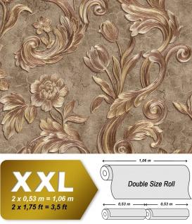 Blumen Tapete EDEM 9013-39 heißgeprägte Vliestapete geprägt mit floralen Ornamenten glitzernd braun bronze gold creme-weiß 10, 65 m2