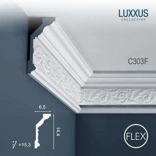Eckleiste Orac Decor C303F LUXXUS flexible Leiste Zierleiste Deckenleiste Stuckgesims Blumen Dekor Leiste   2 Meter