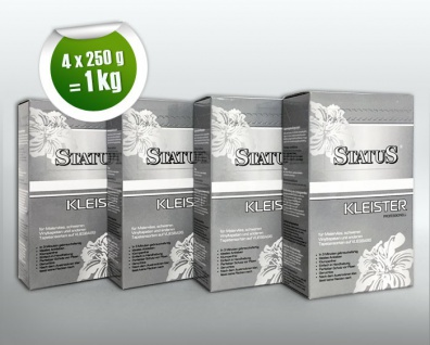 4x 250 g STATUS PROFI Kleister Kleber für alle Vlies-Tapeten Malervlies Renoviervlies 1 kg für 160 qm Vliestapeten