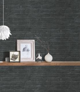 Stein Kacheln Tapete Profhome 377475-GU Vliestapete glatt in Steinoptik matt grau schwarz anthrazit 5, 33 m2 - Vorschau 5
