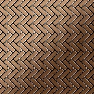 Mosaik Fliese massiv Metall Titan gebürstet in kupfer 1, 6mm stark ALLOY Herringbone-Ti-AB 0, 94 m2