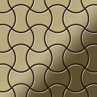 Mosaik Fliese massiv Metall Messing gewalzt in gold 1, 6mm stark ALLOY Infinit-BM Designed by Karim Rashid 0, 91 m2