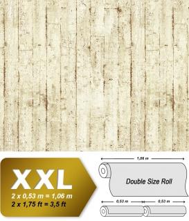 Holz Tapete EDEM 81108BR07 heißgeprägte Vliestapete leicht strukturiert im Shabby Chic Stil matt creme beige braun 10, 65 m2
