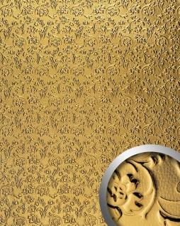 Wandpaneel 3D WallFace 14267 FLORAL Dekor Barock Blumen selbstklebende Tapete Belag Wandverkleidung gold 2, 60 qm