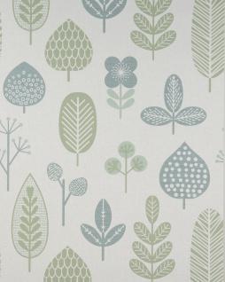 Blumen Tapete Profhome BV919084-DI heißgeprägte Vliestapete strukturiert mit floralen Ornamenten matt weiß grün mint 5, 33 m2