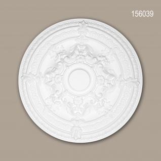 Rosette PROFHOME 156039 Zierelement Deckenelement Rokoko Barock Stil weiß Ø 65, 9 cm