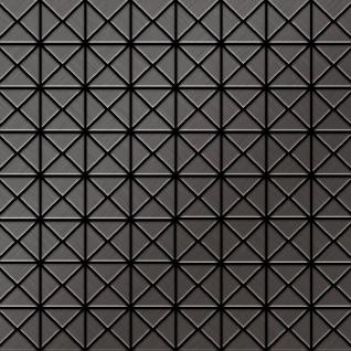 Mosaik Fliese massiv Metall Titan gebürstet in dunkelgrau 1, 6mm stark ALLOY Deco-Ti-SB 1 m2