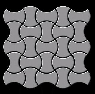 Mosaik Fliese massiv Metall Edelstahl matt in grau 1, 6mm stark ALLOY Infinit-S-S-MA Designed by Karim Rashid 0, 91 m2 - Vorschau 3