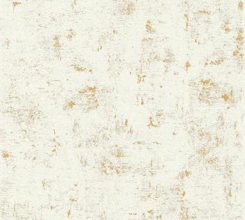 Stein Kacheln Tapete Profhome 230775-GU Vliestapete leicht strukturiert in Steinoptik matt weiß gold 5, 33 m2