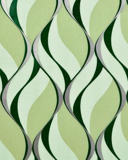 Retro Tapete EDEM 1054-15 Vinyltapete leicht strukturiert mit grafischem Muster und metallischen Akzenten grün moos-grün weiß-grün silber 5, 33 m2
