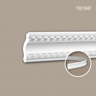 Eckleiste PROFHOME 150184F Zierleiste Flexible Leiste Stuckleiste Zeitloses Klassisches Design weiß 2 m