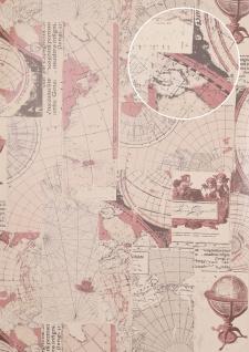 Grafik Tapete Atlas SIG-586-4 Vliestapete glatt im maritimen Design schimmernd grau alt-rosa umbra-grau grau-weiß 5, 33 m2