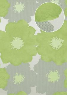 Blumen Tapete Atlas TEM-8015-7 Vliestapete geprägt im Retro-Stil und Metallic Effekt silber blass-grün weiß-grün weiß-aluminium 7, 035 m2
