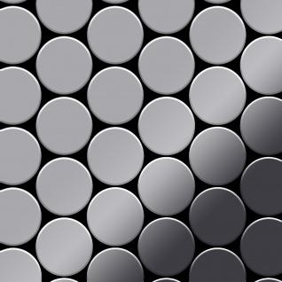 Mosaik Fliese massiv Metall Edelstahl marine hochglänzend in grau 1, 6mm stark ALLOY Medallion-S-S-MM 0, 73 m2