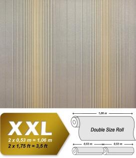 Streifen Tapete XXL Vliestapete EDEM 934-37 Hochwertige heißgeprägte Struktur Metallic Effekt grau gold metallic 10, 65 m2