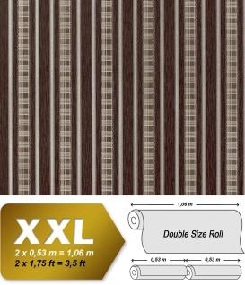 Streifen Tapete Vliestapete EDEM 640-94 Textilstruktur mit Karomuster XXL Tapete braun bronze silber 10, 65 qm