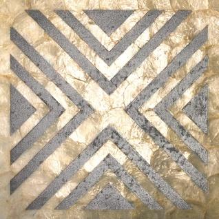 Muschel Wandverkleidung Wallface LU07-5 CAPIZ Dekorfliesen Set handgearbeitet mit echten Muscheln und Glasperlen Perlmutt Optik creme silber grau 1 m2