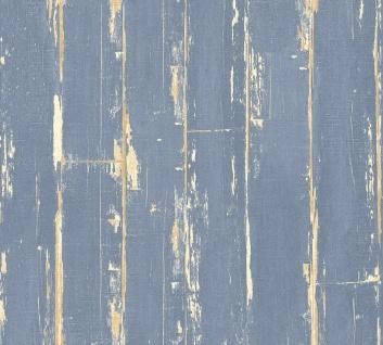 Holz Tapete Profhome 368563-GU Vliestapete leicht strukturiert in Holzoptik matt blau braun 5, 33 m2