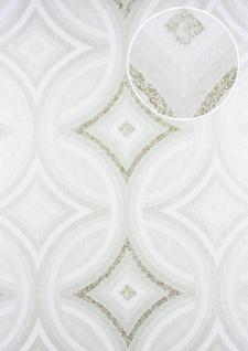 Grafik Tapete ATLAS HER-5135-1 Vliestapete geprägt im Kaleidoskop-Stil schimmernd creme perl-weiß perl-gold 7, 035 m2 - Vorschau 1