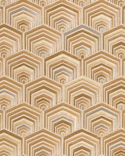 Ethno Tapete Profhome DE120043-DI heißgeprägte Vliestapete geprägt im Ethno-Stil glänzend creme gold bronze 5, 33 m2