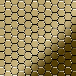 Mosaik Fliese massiv Metall Titan hochglänzend in gold 1, 6mm stark ALLOY Honey-Ti-GM 0, 92 m2