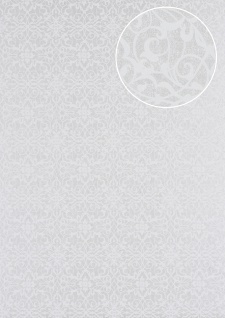 Barock Tapete Atlas PRI-498-8 Vliestapete glatt mit Ornamenten glänzend silber perl-weiß grau-weiß weiß-aluminium 5, 33 m2