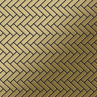 Mosaik Fliese massiv Metall Titan gebürstet in gold 1, 6mm stark ALLOY Herringbone-Ti-GB 0, 94 m2