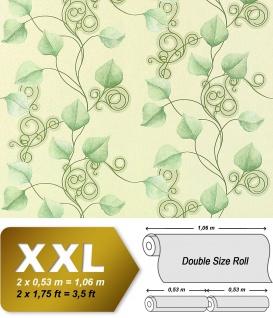 Vliestapete Blumen Tapete Landhaus Tapete EDEM 950-28 XXL Floral Blätter Dekor Pastell-grün hellgrün 10, 65 qm