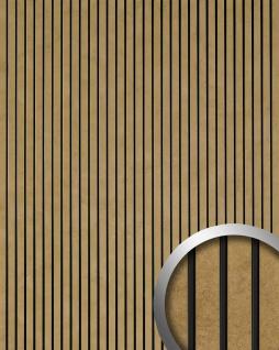 Wandpaneel selbstklebend in Metall-Optik WallFace 18582 PIANO Golden Age Vintage Look Längsstreifen schwarze Fugen gold   2, 60 qm