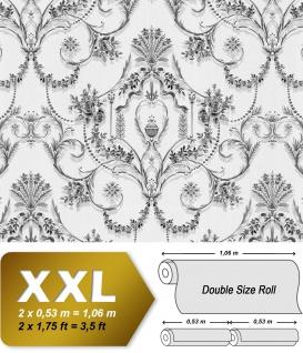 Barock Tapete EDEM 81201BR47 heißgeprägte Vliestapete mit Ornamenten und metallischen Akzenten grau schwarz weiß silber 10, 65 m2