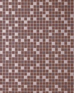 Mosaikstein Tapete Küchentapete EDEM 1022-14 Fliesen Kacheln Tapete mit geprägter Struktur braun schokoladenbraun silber