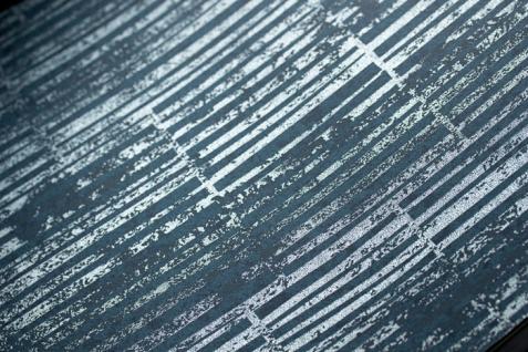 Streifen Tapete Atlas 24C-5056-1 Vliestapete glatt mit grafischem Muster und Metallic Effekt blau blau-grau granit-grau silber 7, 035 m2 - Vorschau 2