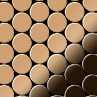 Mosaik Fliese massiv Metall Titan hochglänzend in Kupfer 1, 6mm stark ALLOY Dome-Ti-AM 0, 73 m2
