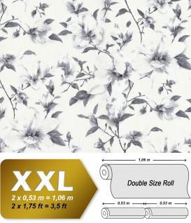 Blumen Tapete EDEM 9080-20 Vliestapete geprägt mit floralen Ornamenten schimmernd weiß grau silber 10, 65 m2