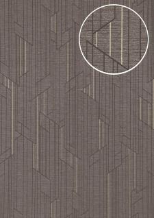 Grafik Tapete ATLAS XPL-565-5 Vliestapete strukturiert mit geometrischen Formen schimmernd platin anthrazit grau gold 5, 33 m2
