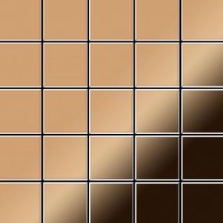 Mosaik Fliese massiv Metall Titan hochglänzend in kupfer 1, 6mm stark ALLOY Century-Ti-AM 0, 5 m2
