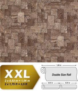 3D Stein Vliestapete EDEM 957-26 XXL stone cubes geprägte Mosaik-Stein Naturstein Optik braun-grau 10, 65 qm