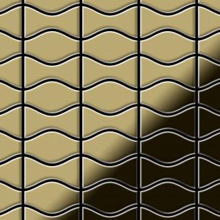 Mosaik Fliese massiv Metall Messing gewalzt in gold 1, 6mm stark ALLOY Kismet & Karma-BM Designed by Karim Rashid 0, 86 m2
