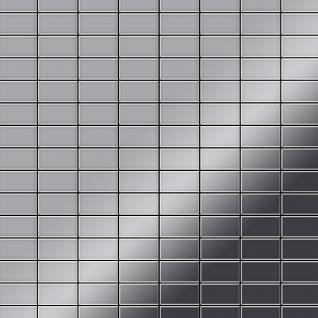Mosaik Fliese massiv Metall Edelstahl hochglänzend in grau 1, 6mm stark ALLOY Bauhaus-S-S-M 1, 05 m2